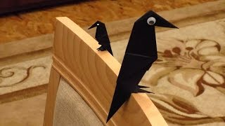 Как сделать ворону из бумаги / Оригами ворона схема / Оригами из бумаги