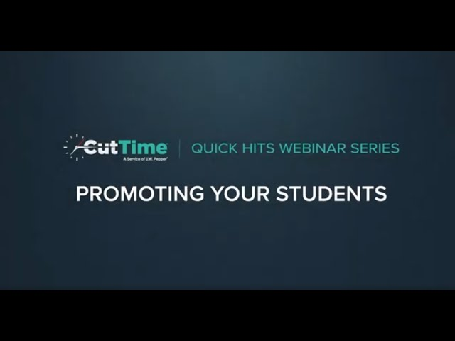 Cut Time Quick Hits Tutorial #4 - Year End promoting your students