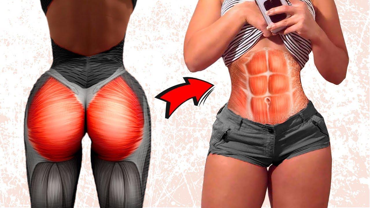5 Minutos de Exercícios Para Perder Barriga e Aumentar Glúteos em 15 Dias. Perder Gordura da Barriga