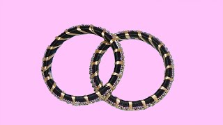 How To Make Silk Thread Bangles?? Black Colour Spool Of Thread Bangle For Stylish Girls/ FB Designs