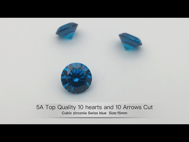 Cubic Zirconia swiss blue 10 Hearts 10 Arrows cut Gemstones best quality wholesale from china