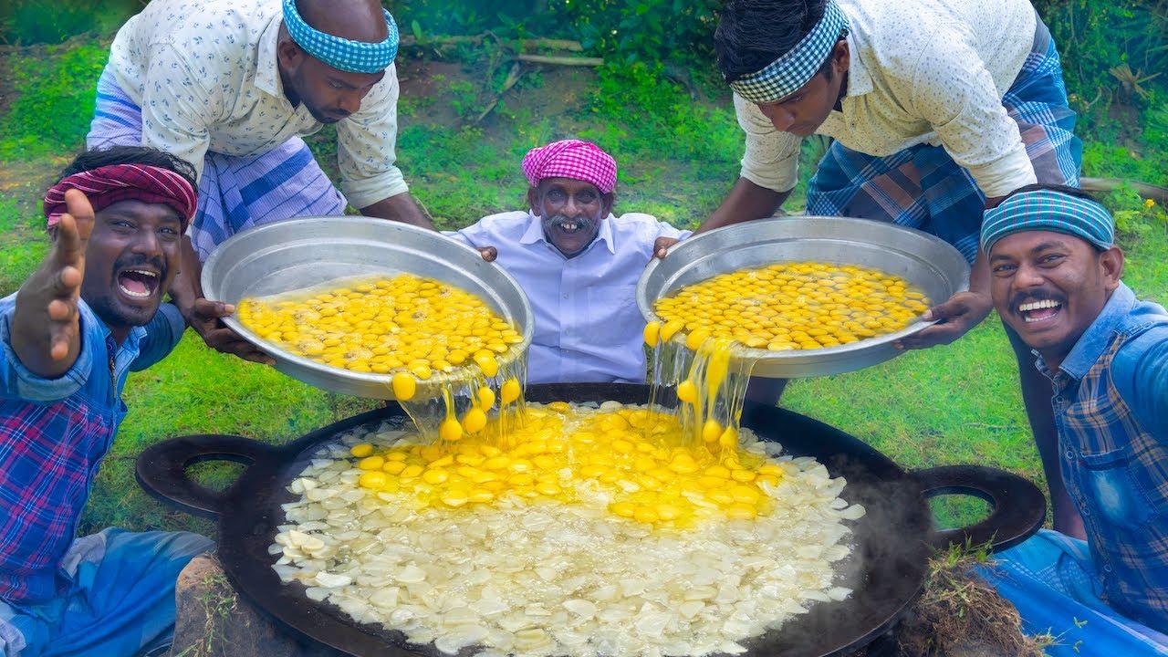 POTATO OMELETTE | BIG Spanish Omelette Recipe Cooking in Indian Village | Egg Recipes | Egg Omelette