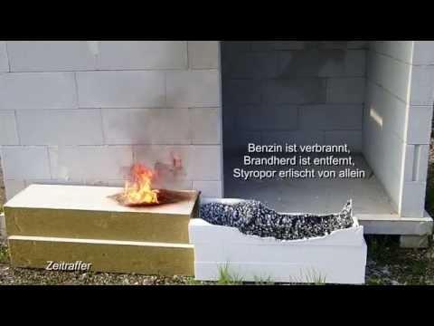 styropor steinwolle brennt versuch mit benzin youtube. Black Bedroom Furniture Sets. Home Design Ideas