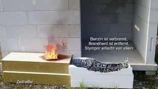 Styropor / Steinwolle brennt ? Versuch mit Benzin