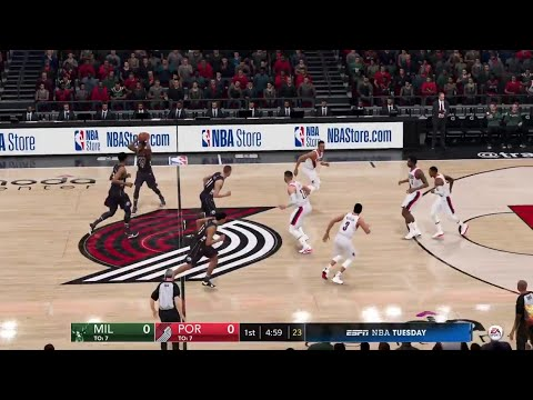 NBA LIVE 19 - Milwaukee Bucks vs Portland Trail Blazers - PS4 PRO Full Game - HD
