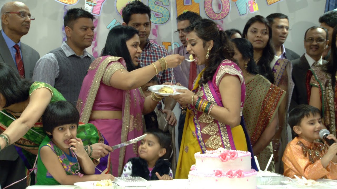 cake cutting ceremony an indian hindu baby shower at sanatan mandir