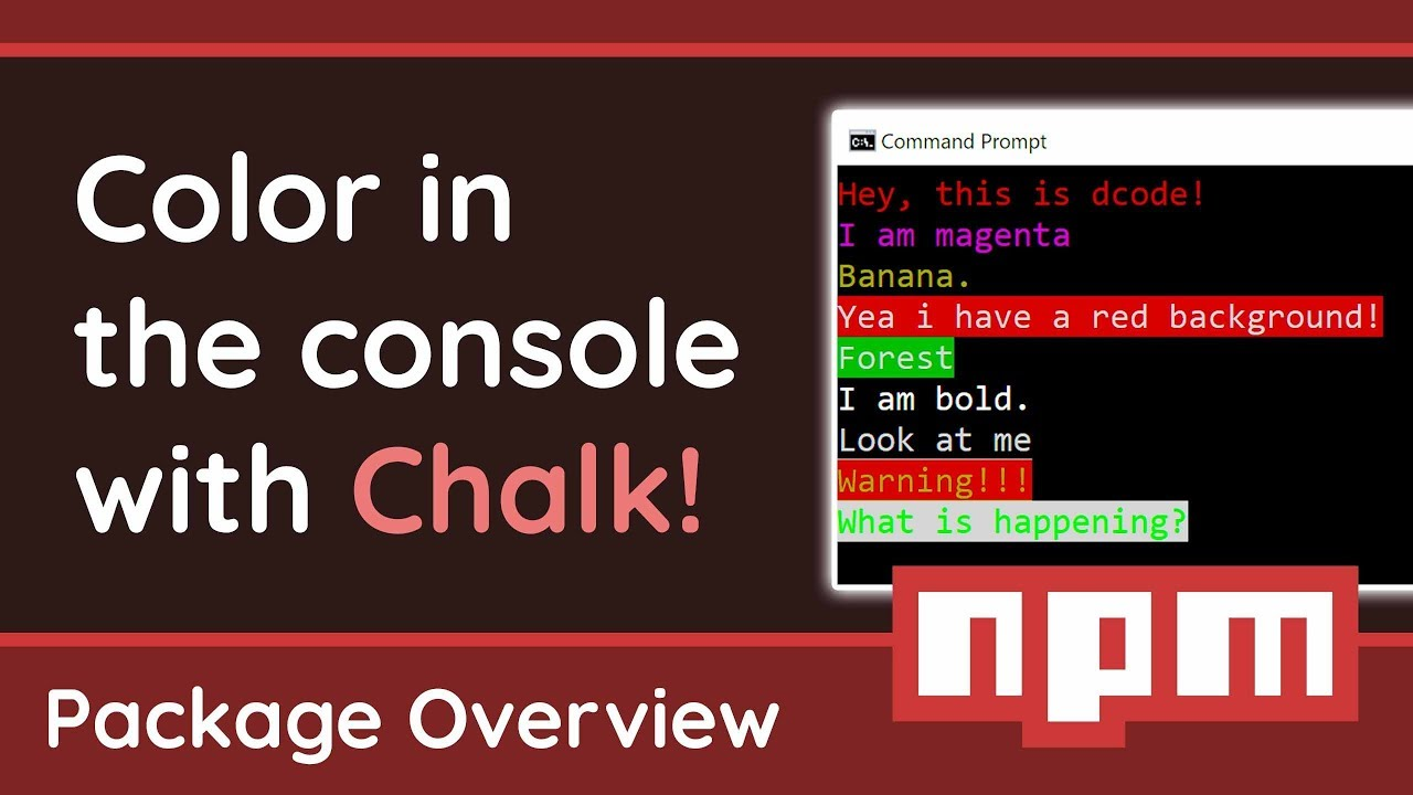 Colorize your console output with Chalk! - Node.js Package Overview
