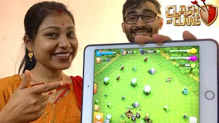 WIFE & ME TOOK NEW CHALLENGE 😎😎Clash of Clans....