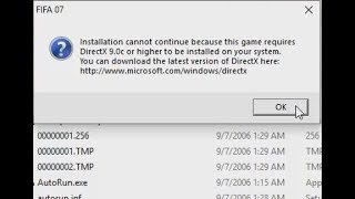 How to Solve Fifa 07 DirectX error: