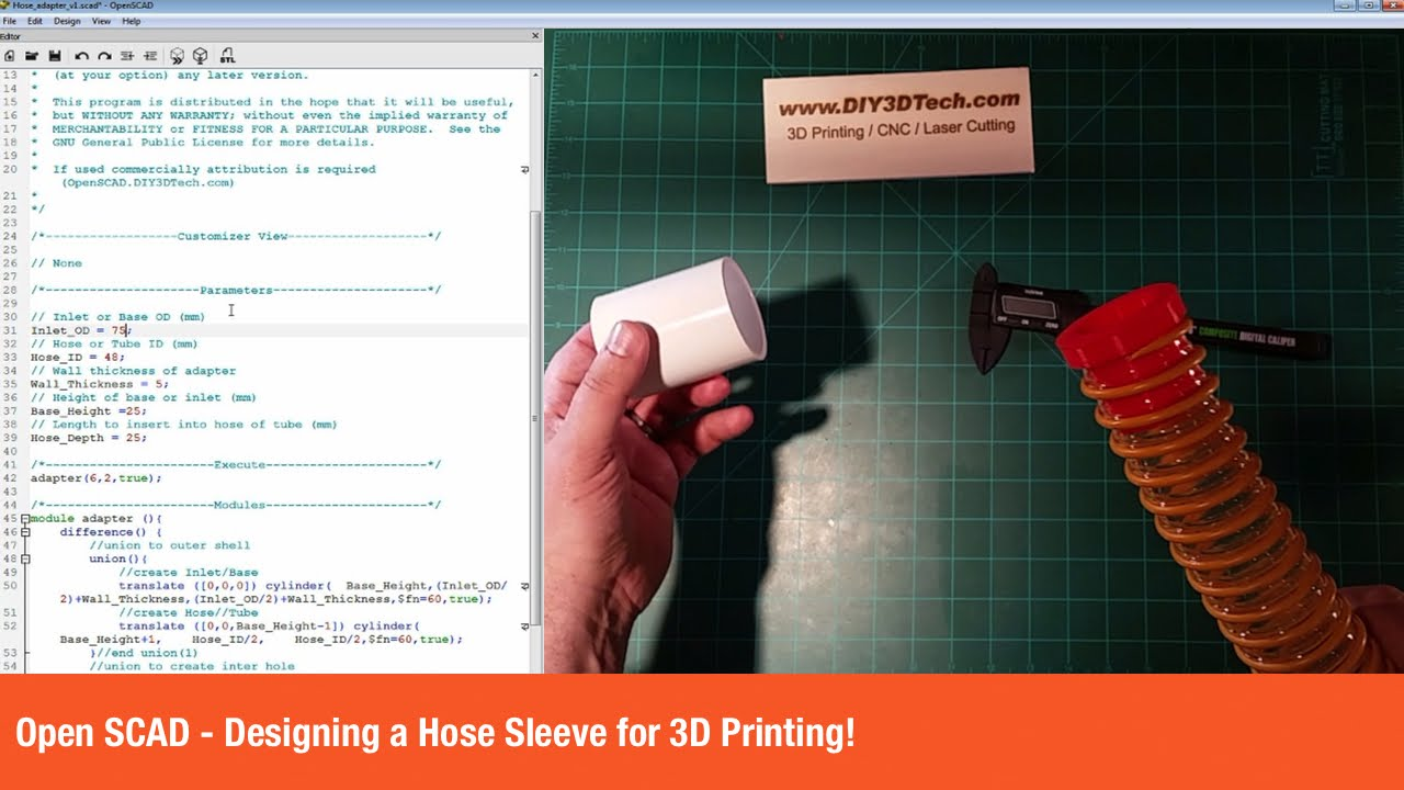 Open SCAD - Designing a Hose Sleeve for 3D Printing!