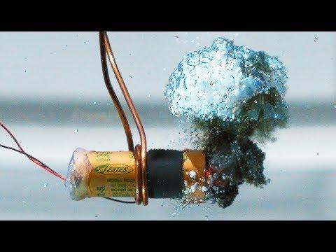 Burning Model Rocket Engine Underwater - in 4K Slow Motion