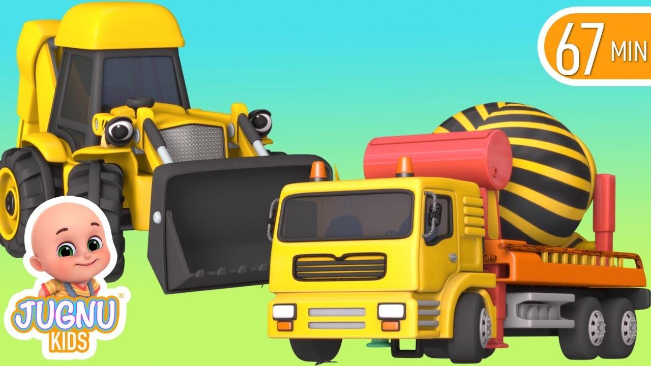 Excavator, Dump truck, Cement mixer truck, Road roller & Construction vehicles toys