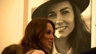 Duchess of Cambridge views portrait of herself