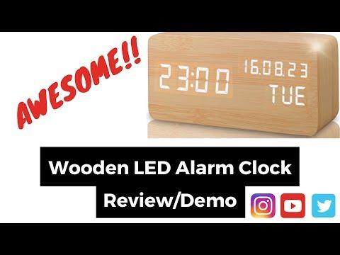 REVIEW AND DEMO OF A WOODEN DIGITAL ALARM CLOCK - LEERON