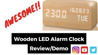 REVIEW AND DEMO OF A WOODEN DIGITAL ALARM CLOCK - LEERON