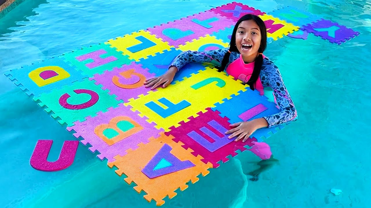 Wendy and Eric Learning ABCs with Summer Alphabet in Swimming Pool