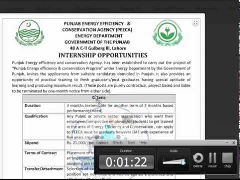 Punjab Energy Efficiency Agency Internship october 2017 Latest