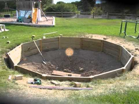 Inground trampoline by outdoor pool and spa youtube Above ground pool installation ideas