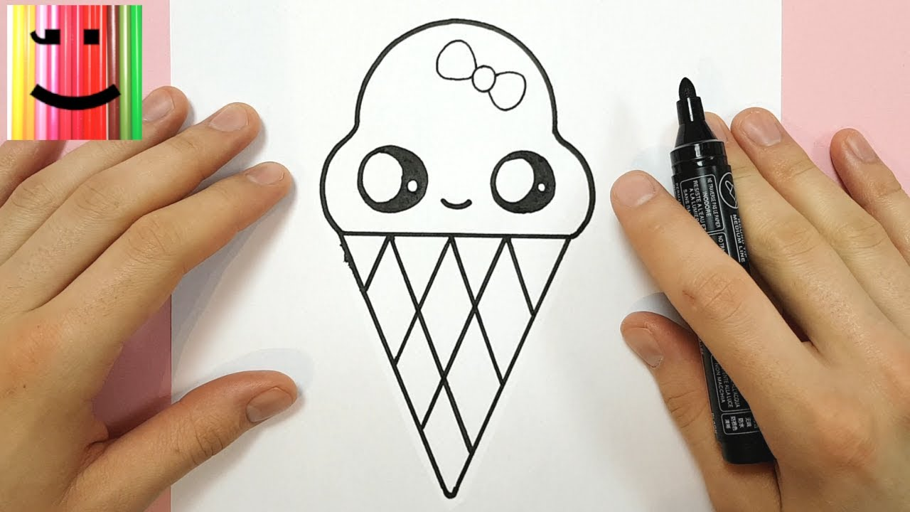 How To Draw Kawaii Ice Cream With A Bow Tie
