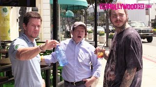 Post Malone & Mark Wahlberg Meet Up For Drinks At Wahlburgers & Post Speaks On His Face Tattoos Video