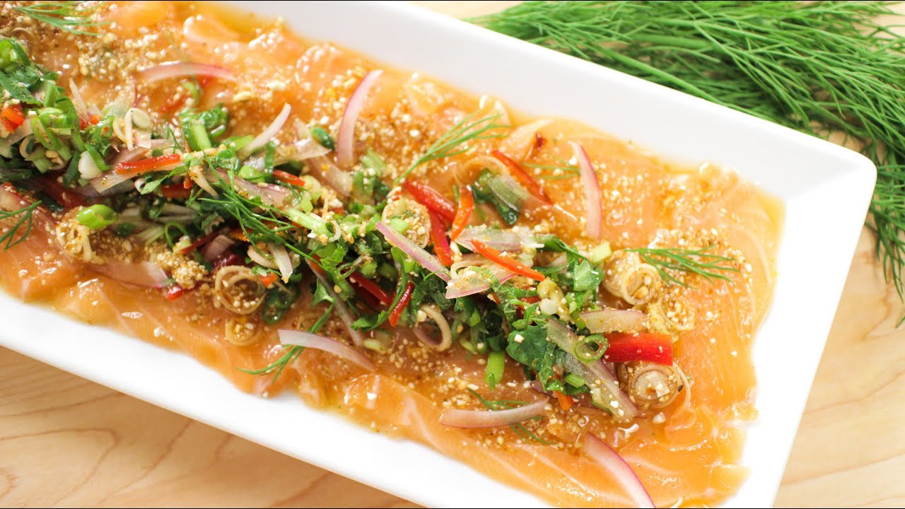 Spicy salmon salad recipe laab salmon hot thai kitchen spicy salmon salad recipe laab salmon hot thai kitchen youtube forumfinder Choice Image