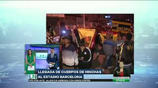 Los cuerpos de los hinchas fallecidos llegan al Estadio Barcelona