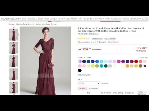 a74f67a50a7 JJsHouse.com Dress Review Mother-of-the-Groom  72696 A-Line Princess V-neck  Chiffon Lace - YouTube