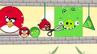 Angry Birds Pigs Out vs Kick Out Green Pigs - ROUND BIRD CUT ROPE TO KICK SQUARE AND TRIANGLE PIGS!