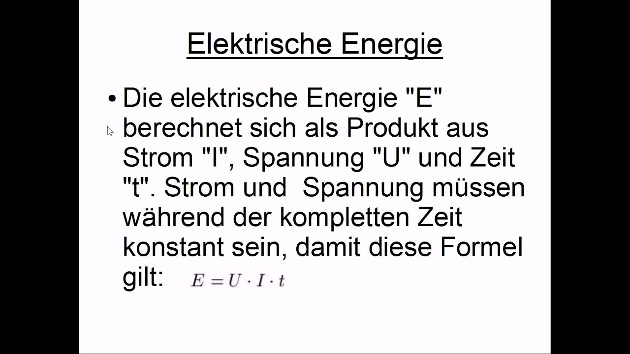 Elektrische Energie - YouTube