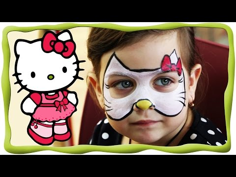 Аквагрим Hello Kitty рисунок на лице Face Painting хелло Китти, развлекательном центре Tbilikids