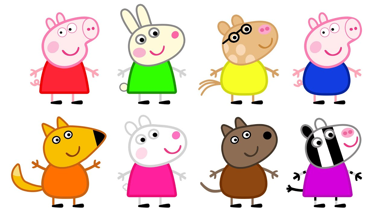 peppa pig and friends learn colors with coloring pages for kids