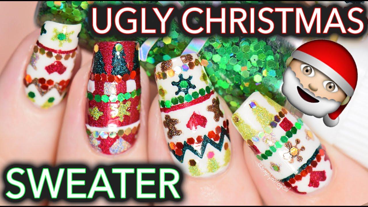 Ugly Christmas sweater nail art