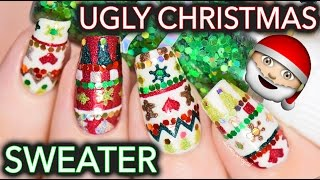 Ugly Christmas sweater nail art