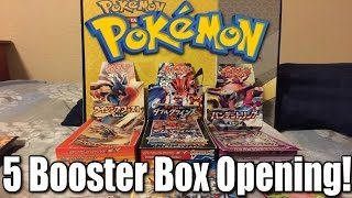 Pokemon Opening 5 Japanese Booster Boxes! (Overview)