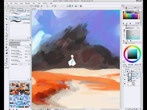 Digital 2D speed painting of a figure and an environment Photoshop / Manga Studio