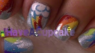 Rainbow Dash Inspired Nail Art