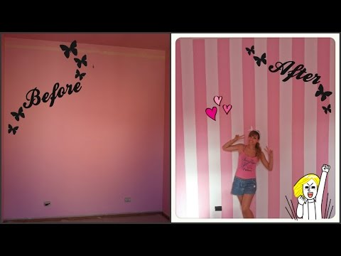 DIY • Striped wall Dipingere parete a righe Cherry BloomPink
