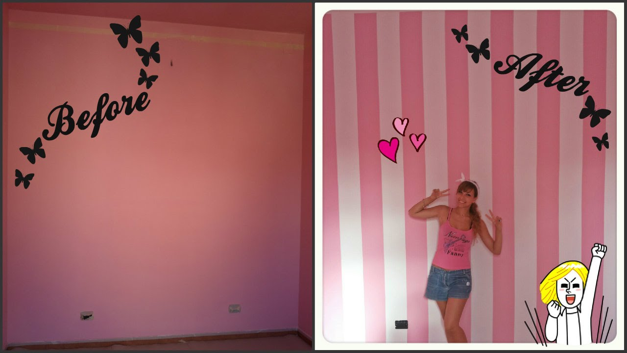 Diy striped wall dipingere parete a righe cherry bloompink youtube - Dipingere pareti cameretta ...
