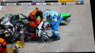 Wreck at Indy Race in Texas.  Coner Daly Reaction