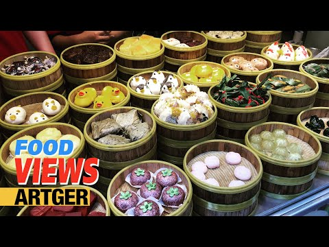 Street Food In Shanghai: Chinese Pork-burger and Baozi, Shaomai, Dim Sum, Coconut Juice