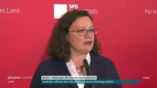 Statement von Andrea Nahles zur Fraktionssitzung der SPD am 16.10.18