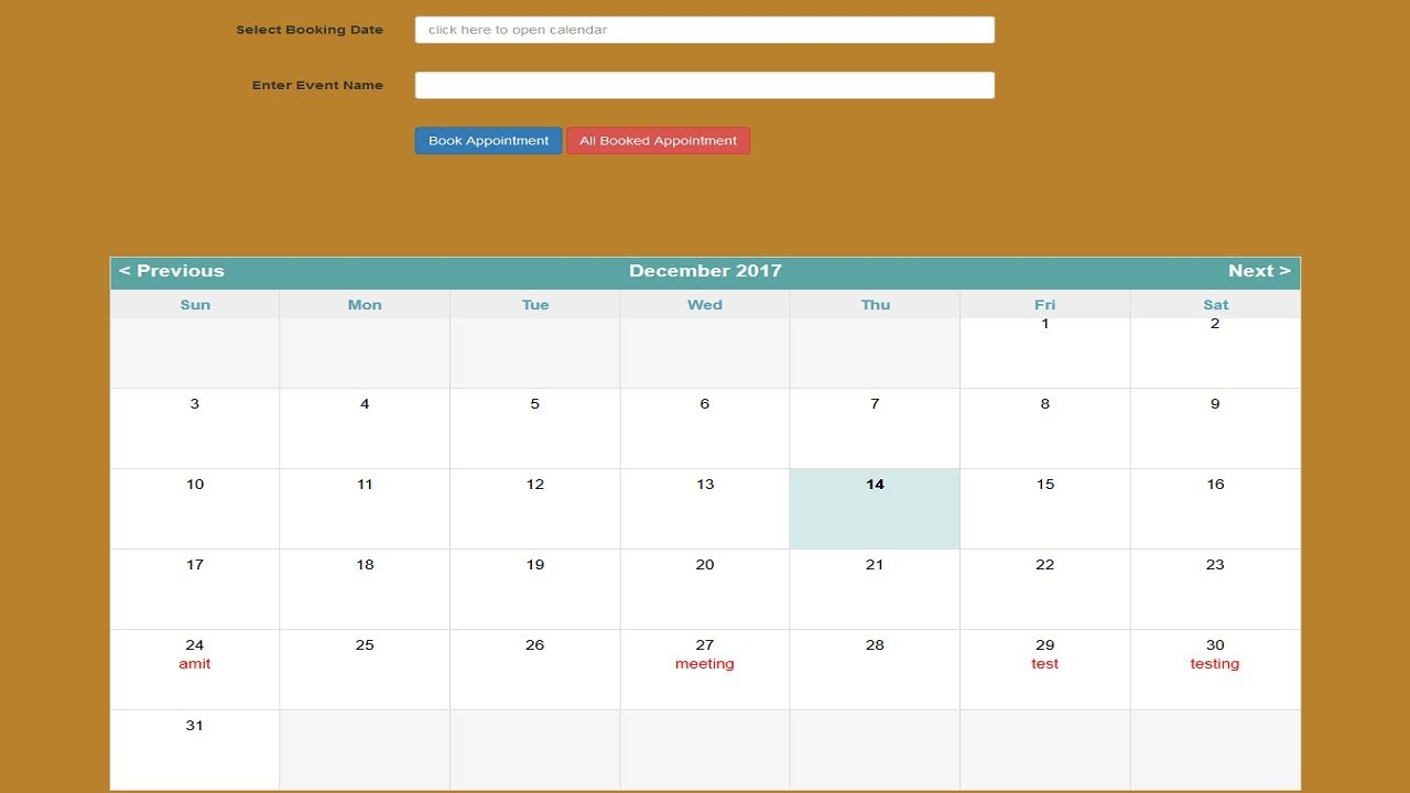 Php Mysql Ajax Event Calendar Youtube