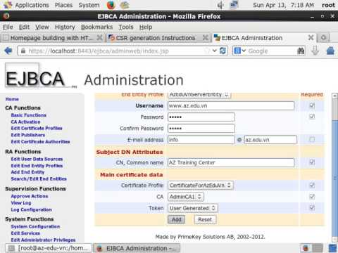 Assigned to Apache Web Server Using a Certificate from EJBCA