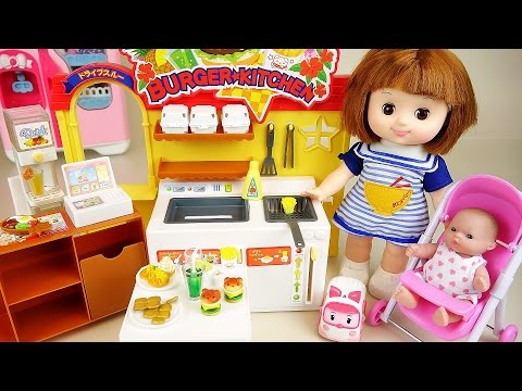 Thumbnail: Baby doll burger shop kitchen toys with Poli Pororo play