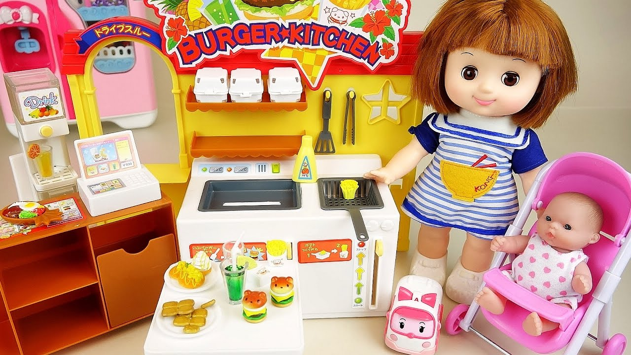 Baby Doll Burger Shop Kitchen Toys With Poli Pororo Play Youtube
