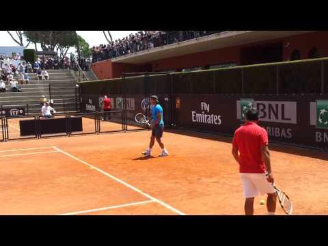 Nadal, allenamento internazionali tennis foro italico Roma