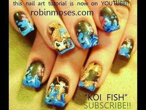 Koi Fish Nail Art - Koi Fish Nail Art - YouTube