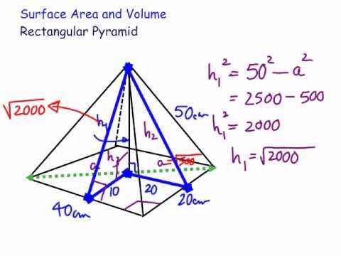 Surface area and volume of a rectangular pyramid - YouTube
