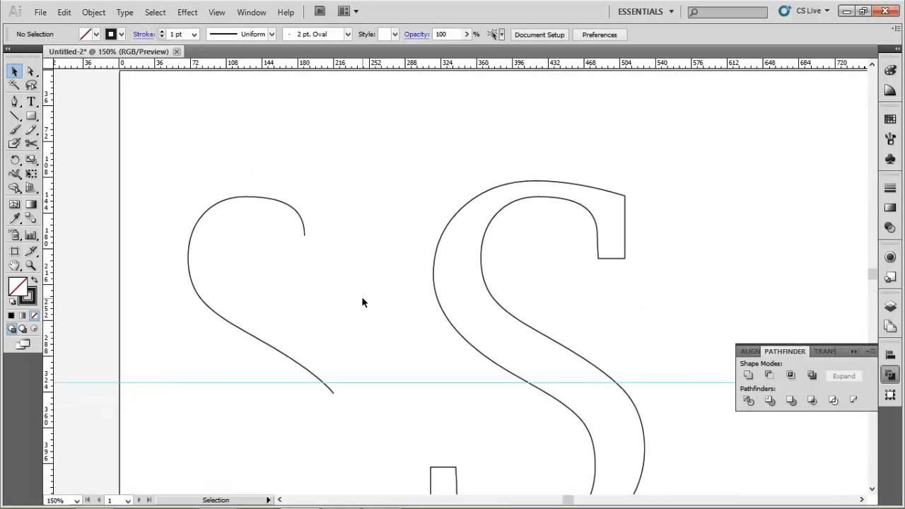 Illustrator Typography Technique - Center outline inside text