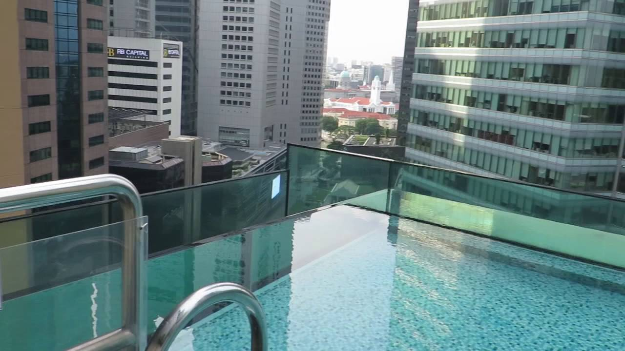 Infinity Swimming Pool At Ascott Raffles Place In Singapore Youtube